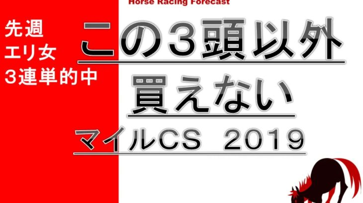 【競馬予想】マイルチャンピオンシップ 2019 この3頭以外買えない!
