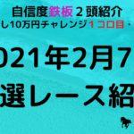【日曜日競馬予想】  2021年2月7日(日)厳選レース紹介 平場予想!!  複勝転がし10万円チャレンジ(1コロ目・2コロ目)